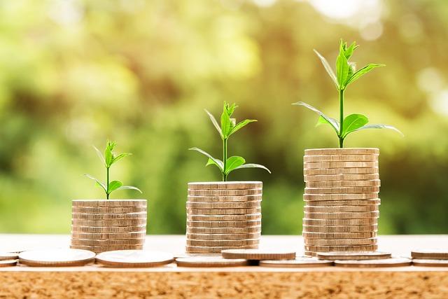 Pieniądze z których kiełkują rośliny jako symbol rozwoju talentów.
